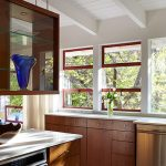 Kitchen, Wooden Floor, Wooden Bottom Cabinet, White Kitchen Top, Floating Wooden Cabinet With Clear Glass Door, Clear Glass Window