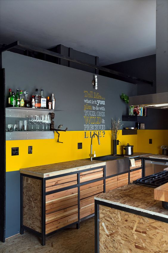 kitchen, wooden floor, wooden refurbished bottom cabinet, grey yellow painted wall, metal shelves