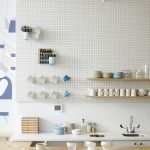 Kitchen, Wooden Kitchen Top, White Wall, White Pegboards On The Wall, White Kitchen Top, Floating Shelves, White Pendants