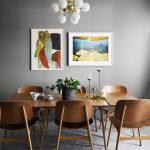 Lean Wooden Chairs With Wooden Table, White Bulb Chandelier, Grey Floor, Grey Wall