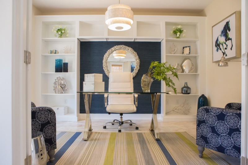 leather executive office chair white shelves round wall mirror chrome desk colorful rug blue patterned armchairs floor lamp pendant lamp