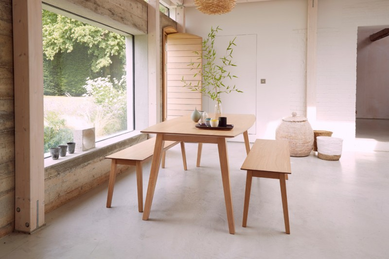 modern dining sets with bench wooden dining table wooden dining benches glass plant vase yellow chandelier wooden wall wide glass window white wall