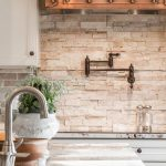 Natural Stone Backsplash Tiles, Marble Kitchen Top, White Upper Cabinet, Copper Hood