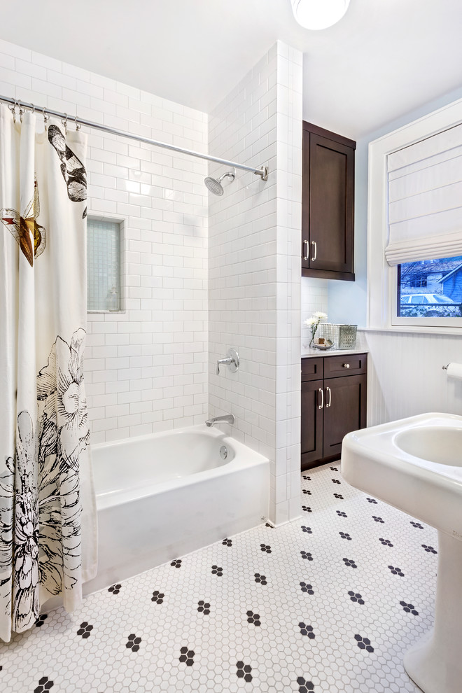nice shower curtains brown cabinet freestanding sink window white roman shade white mosaic floor tile white subway wall tiles built in tub headshower