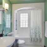 Nice Shower Curtains White Floral Curtain Glass Wall Built In Tub Green Tiles White Mosaic Floor Tile Sink Bowl Black Vanity Wall Mirror