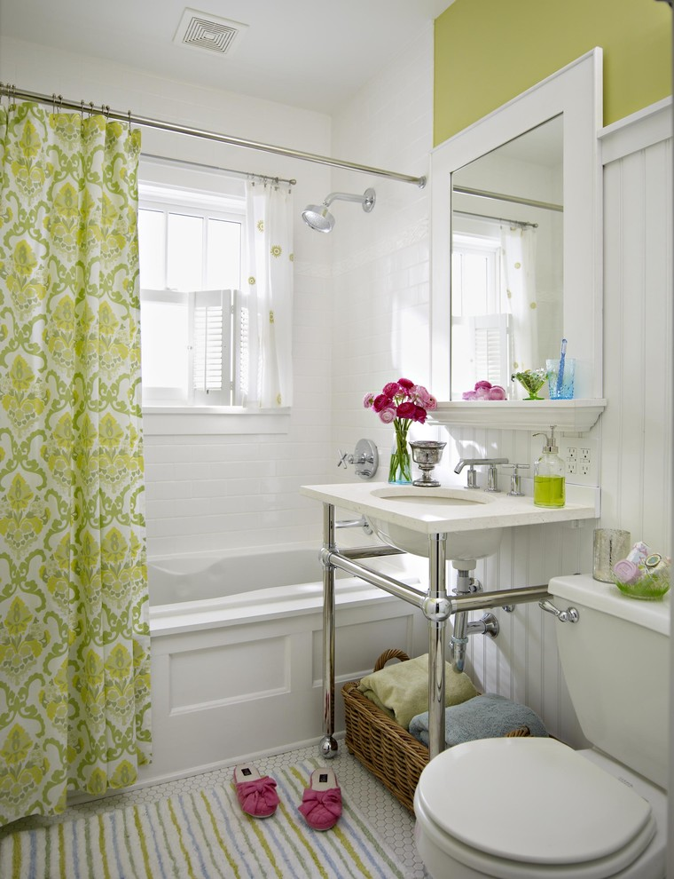 nice shower curtains white walls pedestal sink wall mirror toilet colorful bathroom mat white built in tubshower head curtain rod glass windows shade