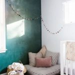 Nursery, Wooden Floor, Rattan Basket, Green Wall, White Wall, White Wooden Crib
