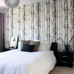 Over Bed Lighting Glass Pendant Wallpaper White Bedding Pillows Black Nightstands Chrome Table Lamps Black Bed Headboard