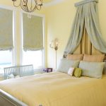 Over Bed Lighting Wall Canopy Yellow Bedding Wall Sconce Chandelier Bed Pillows Bench Window Yellow Walls Decorative Window Shades