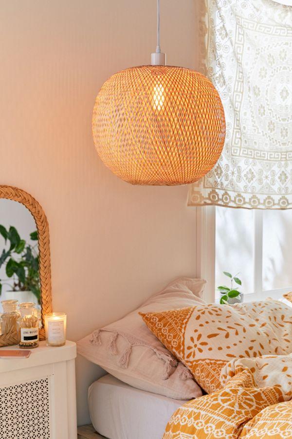 round rattan pendant, white wall, white side table, white bedding, white curtain