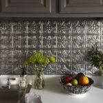 Silver Tin Backsplash, White Counter Top, Silver Sink, Grey Upper Cabinet