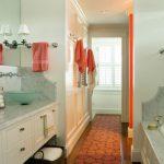 Sink Bowl Red Bathroom Mat Wall Mirror White Marble Countertop Backsplash Glass Towel Jars Towel Holder Built In Tub White Vanity