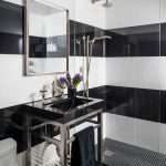 Small Bathroom Black And White Wall Tiles Wall Mirror Shower Fixtures Glass Barrier Black Mosaic Floor Tiles Chrome Pedestal Vanity Black Sink Toilet Faucet Wall Sconce