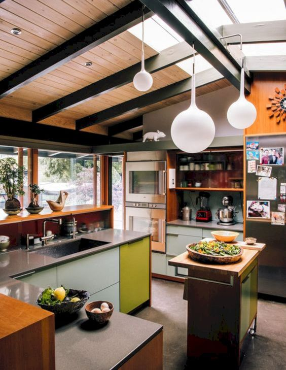 small ktichen, seamless floor, modern cabinet with grey top, small sliding cabinet, brown sheles, white cabinet, white pendants, wooden slabs on the ceiling, glass ceiling
