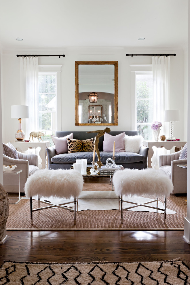 small living room ideas pinterest wall mirror white curtains window white wall fur stools gray sofa beige armchairs glass coffee table area rug