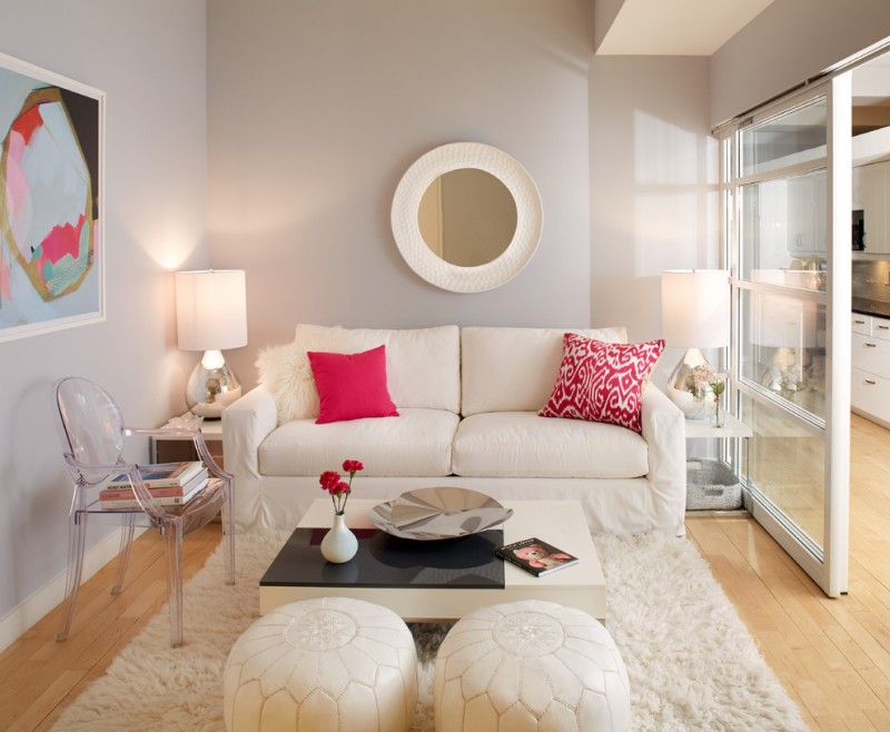 small living room ideas pinterest white sofa white ottoman acrylic chair white coffee table shag rug pink pillows wall mirror table lamps