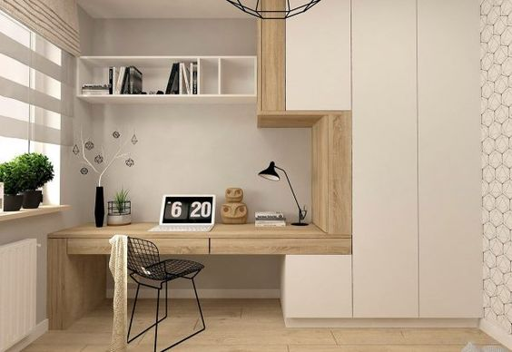 study in alcove, wooden table, wooden layer, white floating boz shelves, black wired chair, brown floor