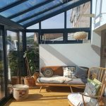 Sun Room, Wooden Foor, Wooden Chair, Wooden Sofa With Grey Cushion