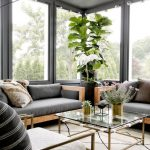 Sun Rooms, White Rug, Wooden Sofa With Grey Cushions, Grey Pillows, Large Windows
