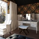 Vanity Chair Floral Wallpaper Small Bench White Wooden Vanity White Cushioned Chair White Drapes Wide Windows Vanity Mirror Table Lamp