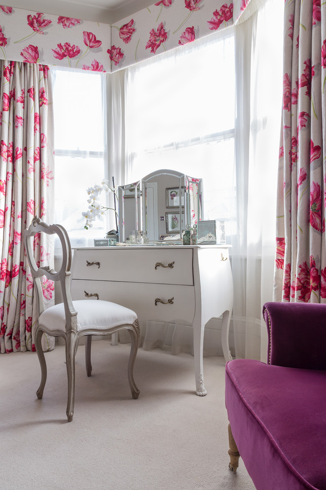 vanity chair white vanity white chair vanity mirror bay window pink floral drapes purple sofa glass flower vase floral valances