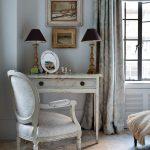 Vintage Bedroom Vanity Frames Small Dark Table Lamps Vanity Mirror White Chair Decorative Drape Black Framed Glass Window Drawer