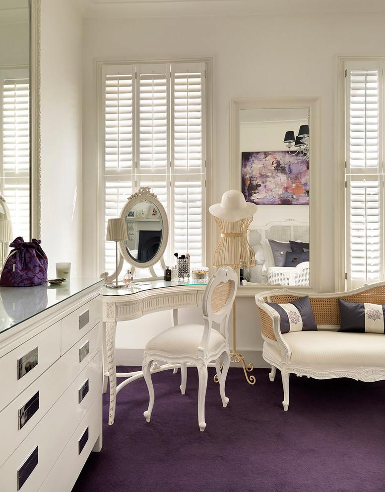 vintage bedroom vanity windows shutters wall mirror modern white dresser purple carpet ehite bench white chair vanity mirror table lamp chandelier