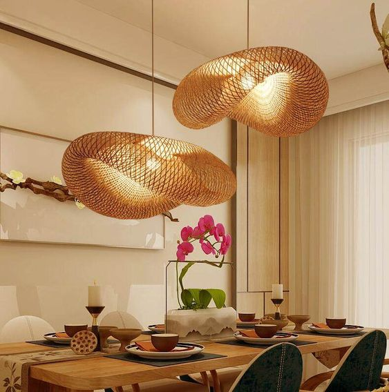 wave rattan pendants, white wall, white curtain, green white chair, wooden table