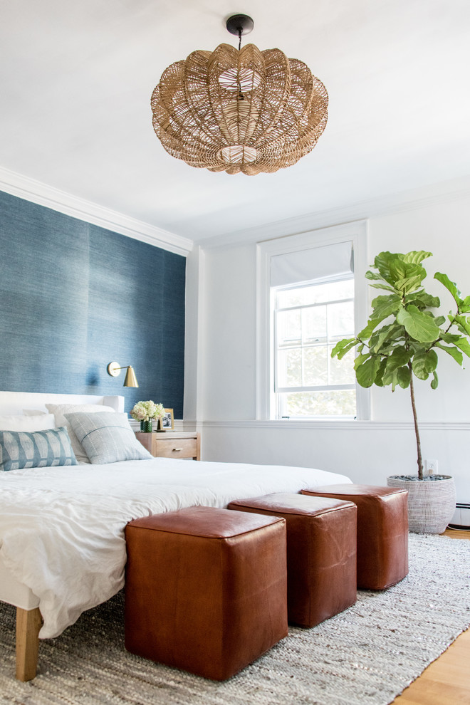 white bedroom decorating ideas black accent wall white wall window shade rattan chandelier brown leathered stools gray textured rug wall sconce bedside table white bedding