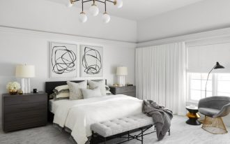 white bedroom decorating ideas black and white artwork white table lamps black headboard white chandelier tufted sofa gray chair floor lamp nightstands white bedding wh