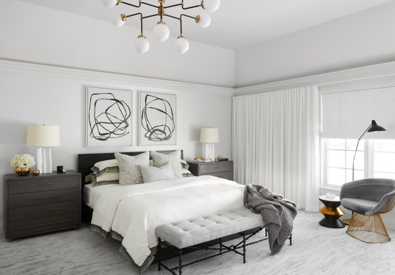 White Bedroom Decorating Ideas Black And Artwork Table Lamps Headboard Chandelier Tufted