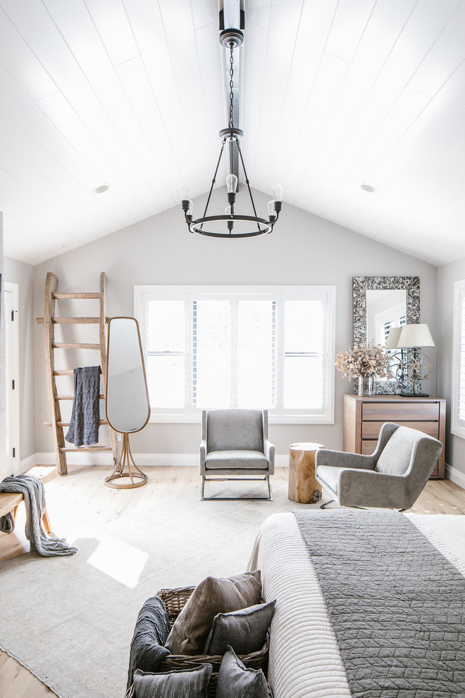 white bedroom decorating ideas classic chandelier wooden ladder standing floor lamp wall mirror drawers table lamps gray armchiars wooden side table windows