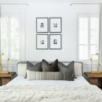 White Bedroom Decorating Ideas Gray Headboard Wooden Bedside Tables White Bedding Frames Windows Gold Table Lamps Gray Curtains