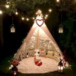 White Fabric Tent, White Clothe Rug, Pillos, Fairy Lights, Lantern