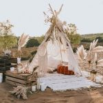 White Fabric Tent, White Rug, Refurbished Wood Crate