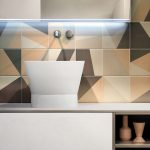 White Sliding Door Cabinet, White Sink, Abstract Lines Orange Brown Pattern Wall, Mirro
