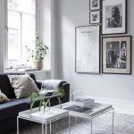 White Tray Coffee Tables, Grey Rug, Grey Wall, Black Sofa, Large Windows