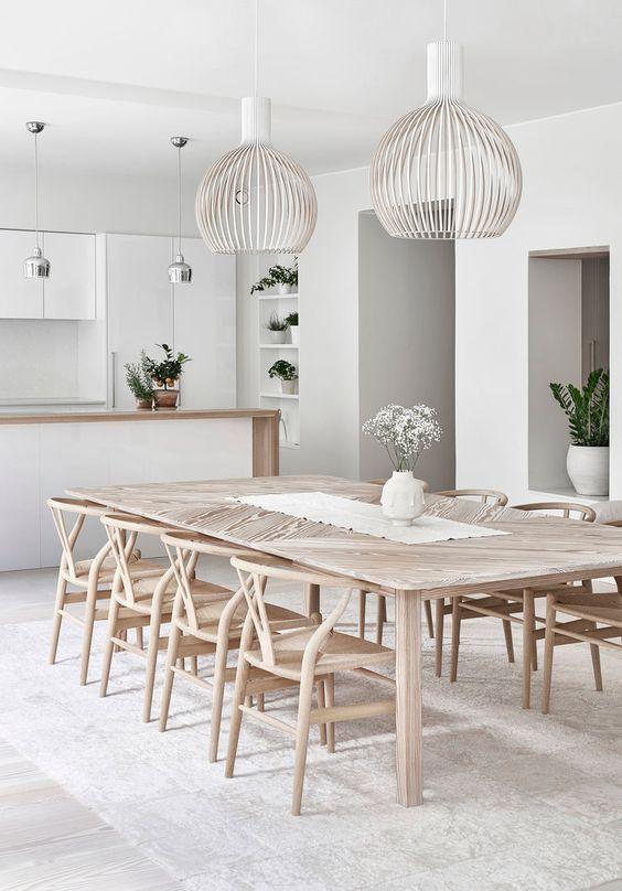 white wire pendants, white wall, white ceilin, silver pendant, light wooden dining set, light wooden floor