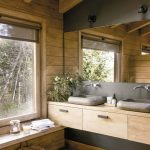 Wooden Cabin, Bathroom, Wooden Floor, Wooden Wall, Wooden Ceiling, Wooden Floating Vanity, Grey Stone Sink, Wooden Bench, Glass Large Window