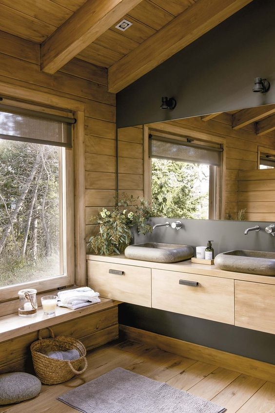 wooden cabin, bathroom, wooden floor, wooden wall, wooden ceiling, wooden floating vanity, grey stone sink, wooden bench, glass large window