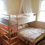 Wooden Light Bunk Bed With White Boards, Canopy, Double Bed On The Bottom, Wooden Floor