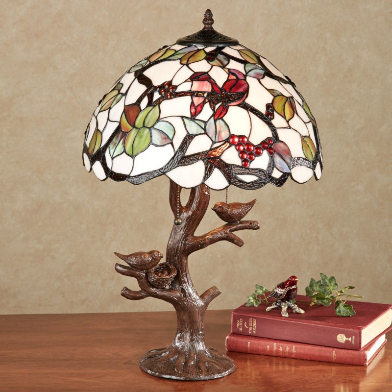 1. stained glass floral lamp shade with resin tree