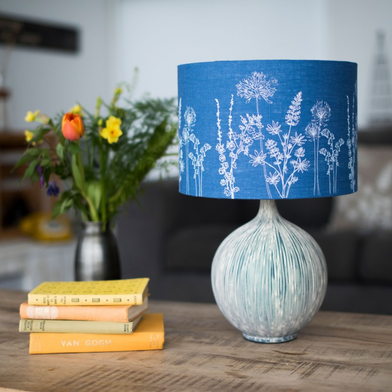 2. blue linen floral lamp shade