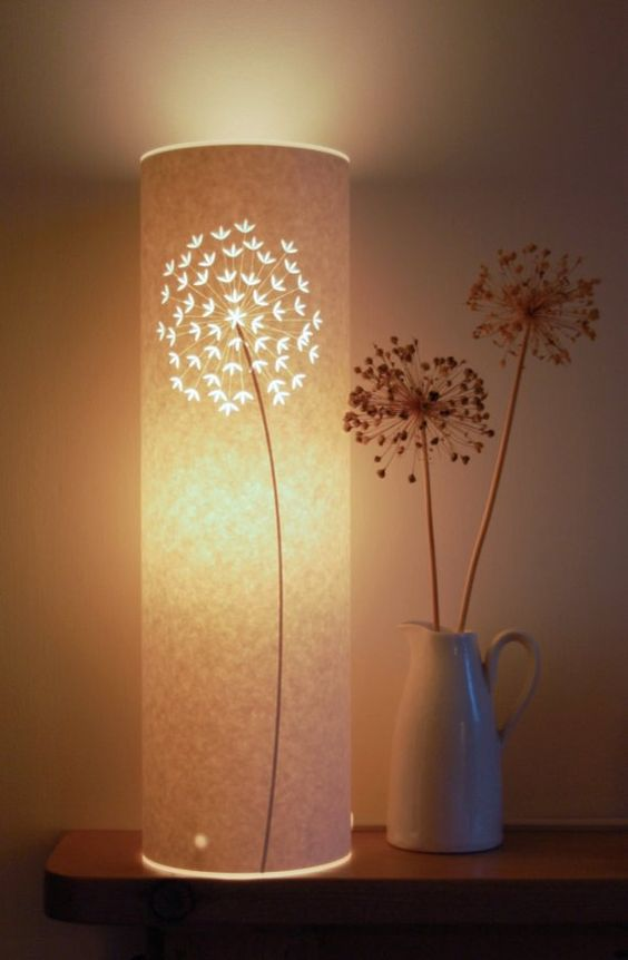 3. floral conical table lamp shade with allium flower motif