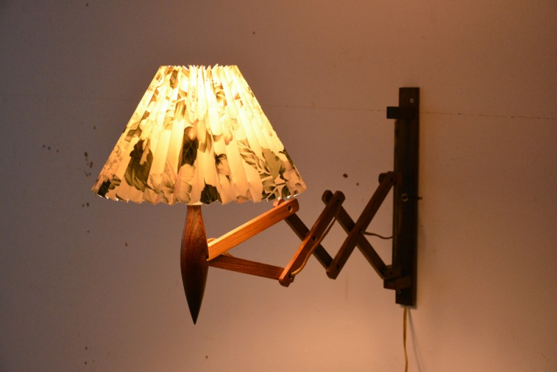5. pleated floral shade for scissor lamp