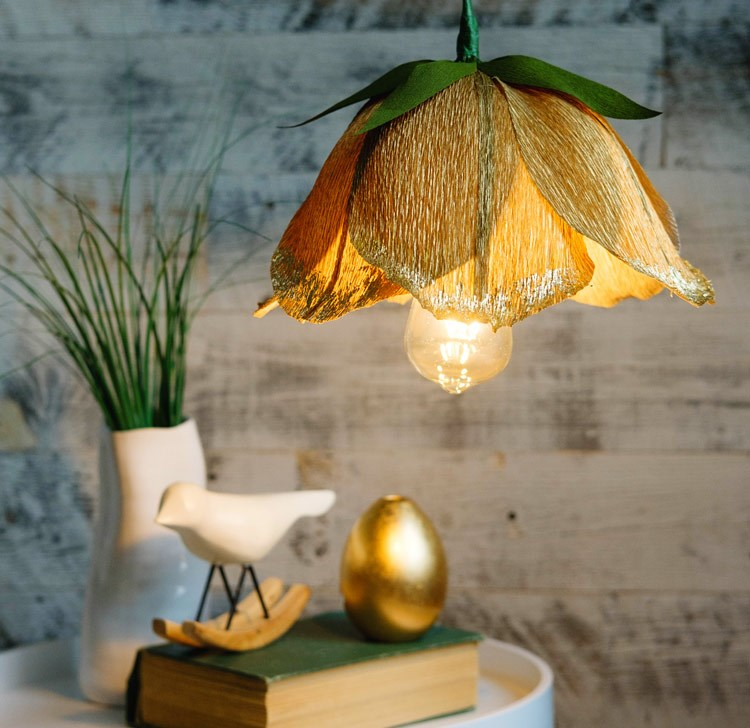 8. handmade floral pendant lamp shade from crepe paper