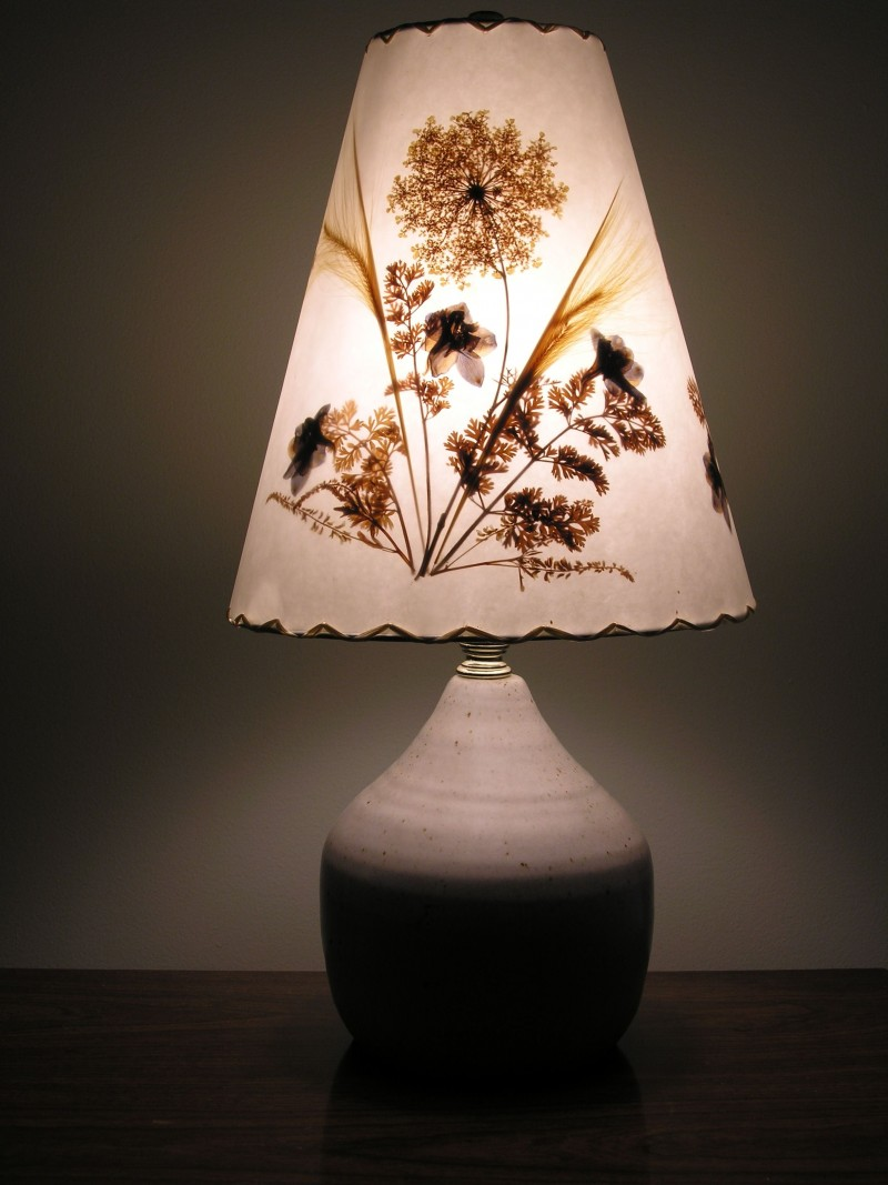 9. floral lamp shade from pressed dried flower and leaves