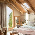 Attic Bedroom, Wooden Floor, Grey Wall, Wooden Ceiling, Wooden Beam, Wooden Bench, Wooden Chair, Bed, Large Glass Door, Grey Curtain