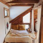 Attic Bedroom, Wooden Floor, White Wall, Wooden Wall, Wooden Ceiling, White Bedding, White Curtain