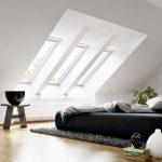 Attic Bedroom, Wooden Floor, Windows On Sloping Ceiling, Grey Stool, Black Bed, Grey Rug